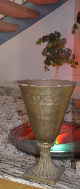 Fountain Vintage Pair Large Brass Urns