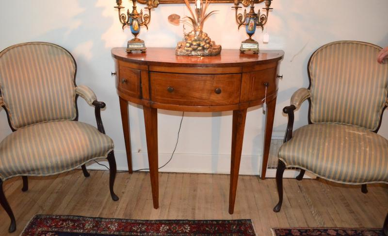 English Mahogany and Satinwood inlaid Console Table George II circa mid 18th cen