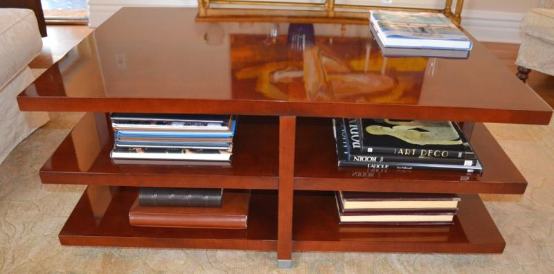 Baker two shelf coffee Table – 48 inch long, 32 inch wide, 20 inch high.