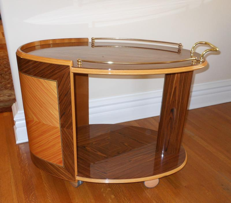 Large Sorrento Italy Oval Serving cart/bar – 33 ½ inch long, 22 inch deep, 26 ¾ inch high.