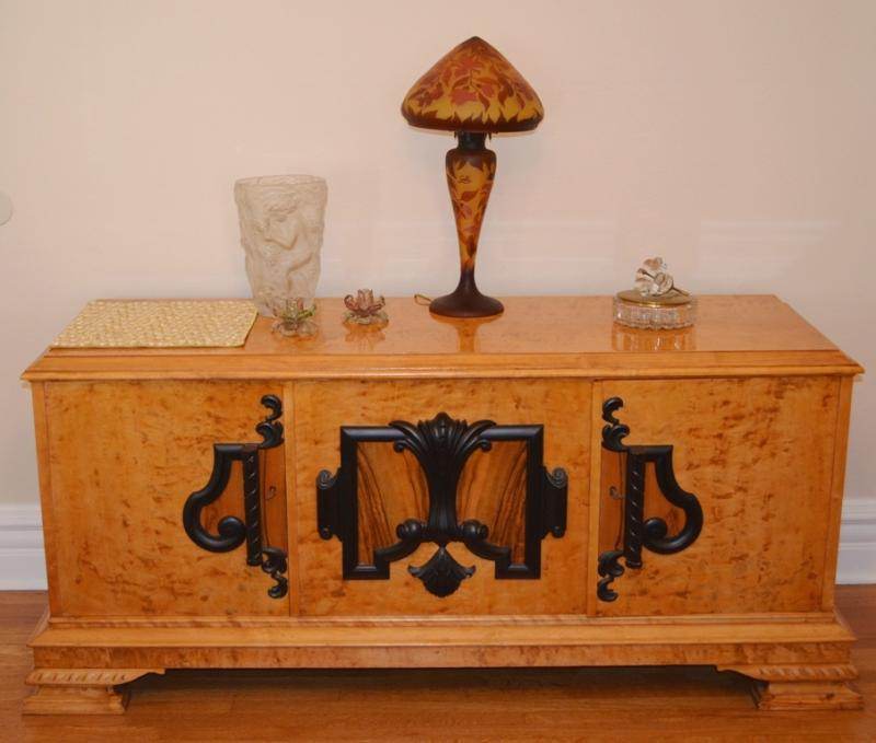 Biedermeier (credenza/side board by Mobelfabriken) – 63 inch long top, 66 ½ inch long bottom, 20 ¾ inch deep, 29 inch high.