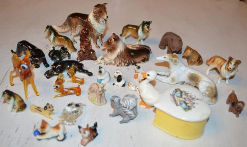 Mini and Miniature Animal Figurines Porcelain and Glass.