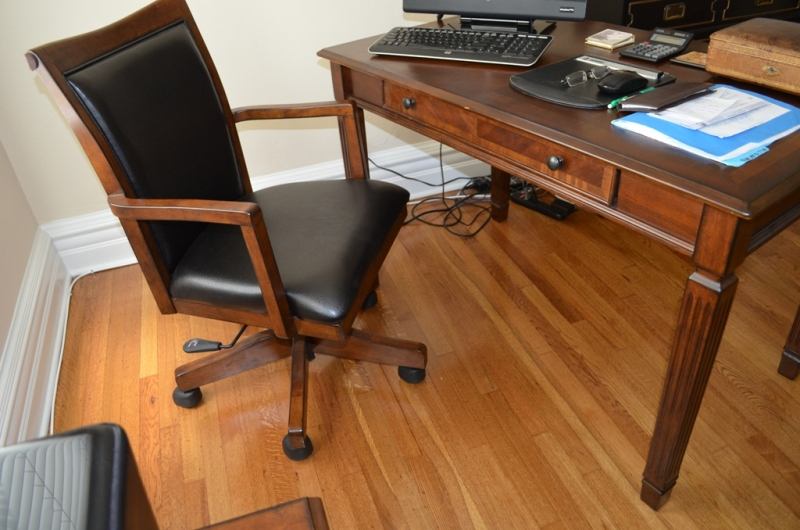 Desk 48 inch long, 28 inch deep, 30 inch high with leather wood chair