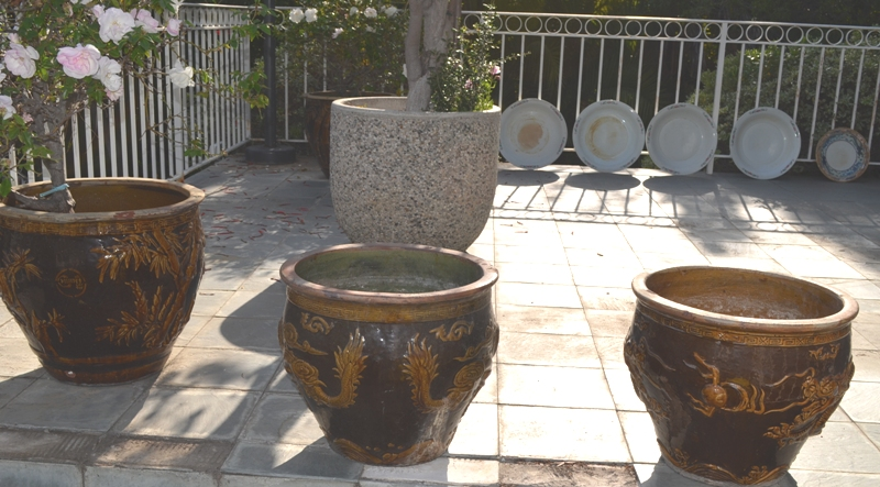 Large Vintage Chinese Flower Pots